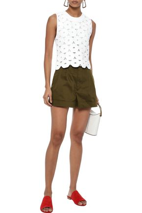 ALICE + OLIVIA Conry pleated stretch-cotton shorts