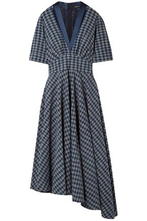 ADAM LIPPES Asymmetric gathered checked cotton-poplin midi dress
