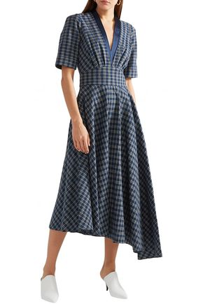 ADAM LIPPES Asymmetric gathered checked cotton-poplin midi dress