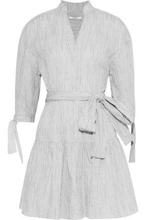 DEREK LAM 10 CROSBY Striped textured cotton-blend poplin mini dress