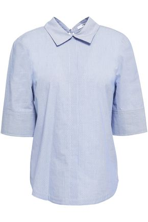 DEREK LAM 10 CROSBY Striped cotton-jacquard top