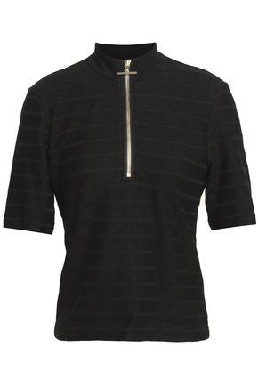 DEREK LAM 10 CROSBY Striped slub cotton-jersey turtleneck top