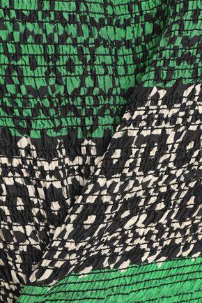 DEREK LAM 10 CROSBY Printed shirred silk top