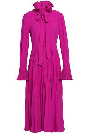 CO Pussy-bow pleated turtleneck midi dress