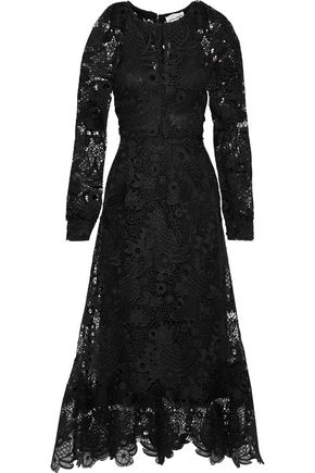 ANTIK BATIK Lacy pleated guipure lace maxi dress
