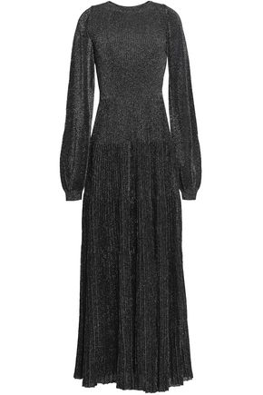 VIONNET Metallic ribbed stretch-knit maxi dress