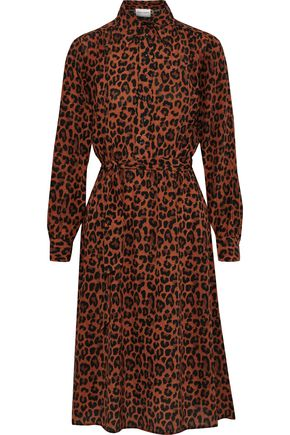 ANTIK BATIK Gart belted leopard-print silk shirt dress