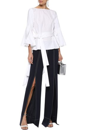 CAROLINA HERRERA Cotton-blend poplin wrap top