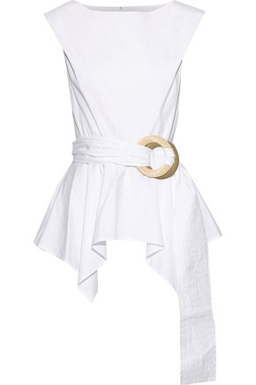 CAROLINA HERRERA Belted cotton-blend poplin peplum top