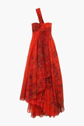 EMILIO PUCCI One-shoulder embellished printed silk-chiffon gown