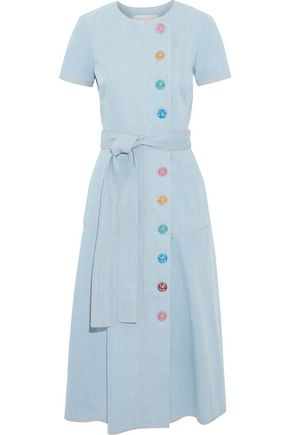 CAROLINA HERRERA Belted button-detailed denim midi dress