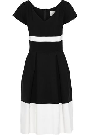CAROLINA HERRERA Pleated two-tone wool-blend dress