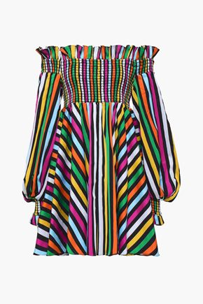 CAROLINE CONSTAS Kora off-the-shoulder striped cotton mini dress