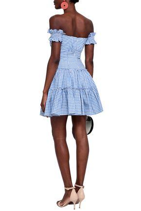 CAROLINE CONSTAS Maria off-the-shoulder gingham cotton-poplin mini dress