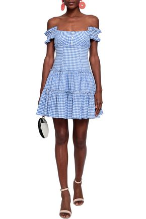 8dbacdb671c6 CAROLINE CONSTAS Maria off-the-shoulder gingham cotton-poplin mini dress