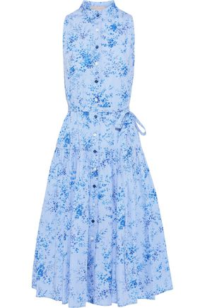 CAROLINA HERRERA Belted gingham cotton-poplin midi dress