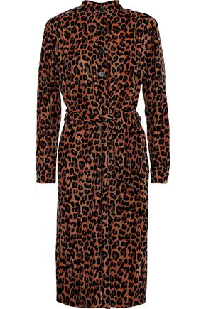 ANTIK BATIK Gart leopard-print velvet shirt dress