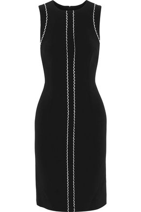 CAROLINA HERRERA Rickrack-trimmed crepe dress