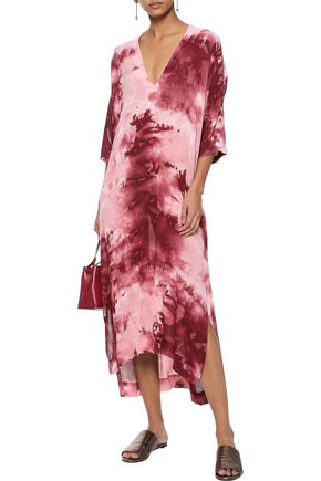 ENZA COSTA Tie-dyed crepe maxi dress