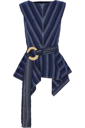 CAROLINA HERRERA Belted striped linen and cotton-blend peplum top
