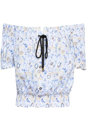CAROLINE CONSTAS Off-the-shoulder printed cotton-blend poplin top