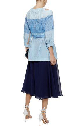 CAROLINA HERRERA Cold-shoulder belted striped cotton-gauze tunic