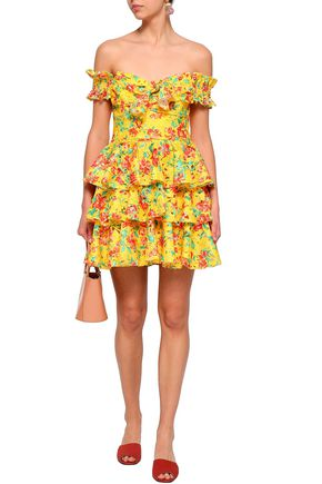 CAROLINE CONSTAS Hellena off-the-shoulder floral-print crochet-knit mini dress