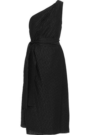 CAROLINA HERRERA One-shoulder pleated woven midi dress