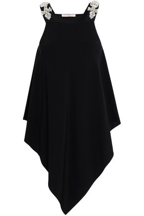 CHRISTOPHER KANE Asymmetric embellished satin-crepe top