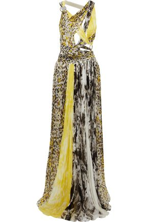 ROBERTO CAVALLI Cutout ring-embellished printed silk-gauze gown