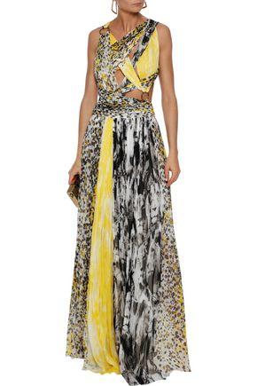ROBERTO CAVALLI Cutout ring-embellished printed silk-gauze gown