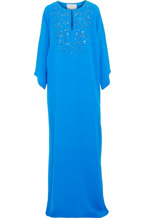 CAROLINA HERRERA Embellished silk-crepe gown