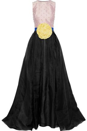 CAROLINA HERRERA Embellished satin-paneled cotton and silk-blend organza gown