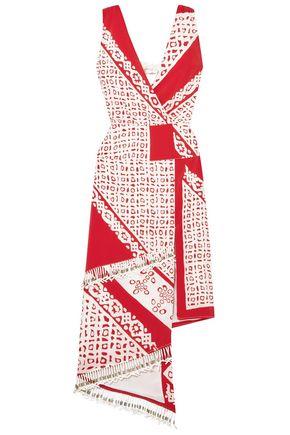 ALTUZARRA 装飾付き ラップ風 プリント シルク ミディワンピース