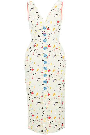 CAROLINA HERRERA Button-detailed printed cotton-blend midi dress