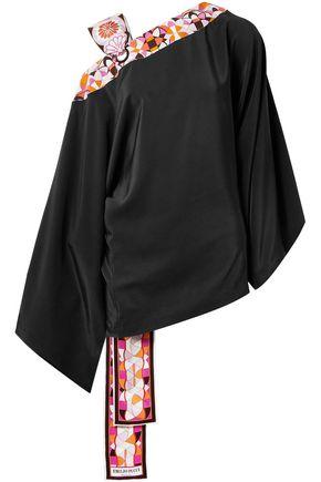 EMILIO PUCCI Printed twill-trimmed silk tunic