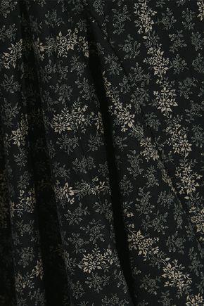 PETERSYN Cate flared floral-print cotton-poplin mini dress
