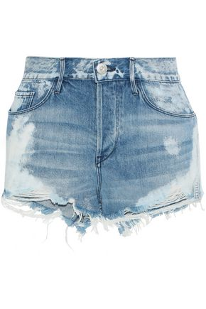 3x1 W2 Mason bleached distressed denim shorts