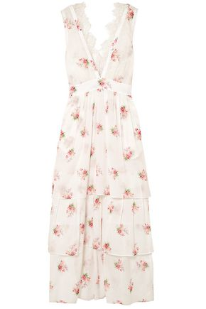 BROCK COLLECTION Dale lace-trimmed floral-print cotton-voile midi dress