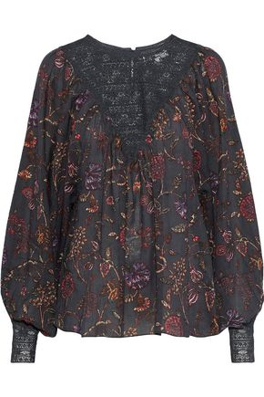 ANTIK BATIK Alina lace-paneled printed cotton-gauze blouse