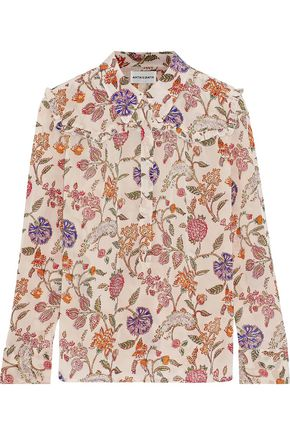 ANTIK BATIK Alina ruffle-trimmed floral-print crepe de chine shirt