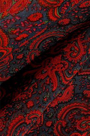 ANTIK BATIK Molly shirred printed georgette turtleneck blouse