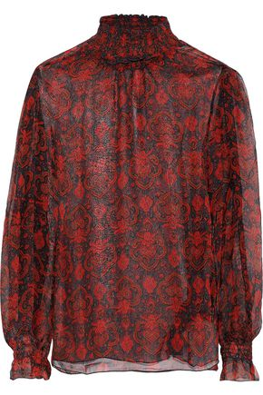 ANTIK BATIK Molly shirred printed georgette turtleneck blouse