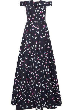 CAROLINA HERRERA Off-the-shoulder floral-print cotton and silk-blend faille gown