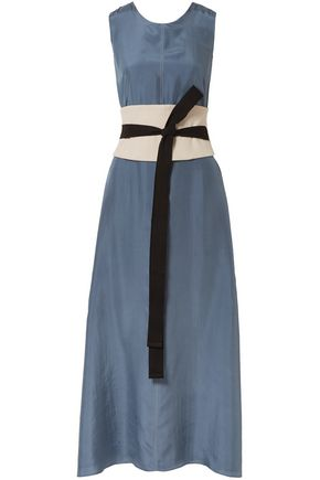 BRUNELLO CUCINELLI Canvas-trimmed silk maxi dress