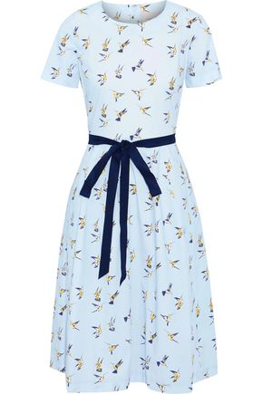 CAROLINA HERRERA Belted printed stretch-cotton poplin dress