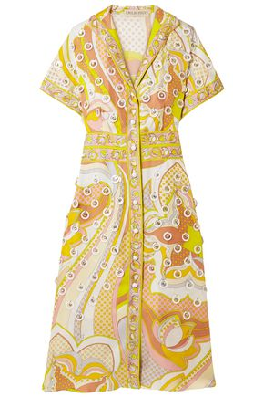 EMILIO PUCCI Embellished printed silk-twill shirt dress