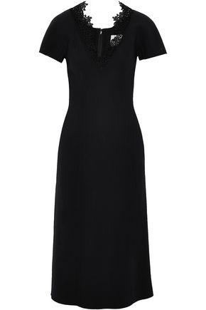 CAROLINA HERRERA Guipure lace-trimmed wool-blend midi dress