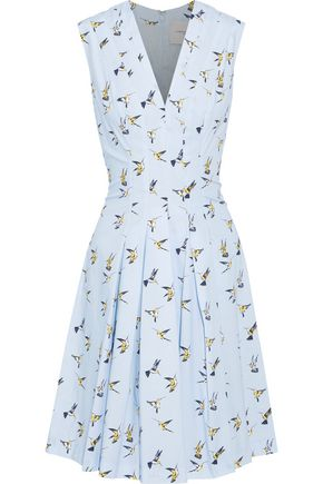 CAROLINA HERRERA Pleated printed stretch-cotton poplin dress