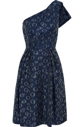 CAROLINA HERRERA One-shoulder metallic fil coupé twill dress